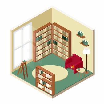 Design isometrico della stanza della biblioteca