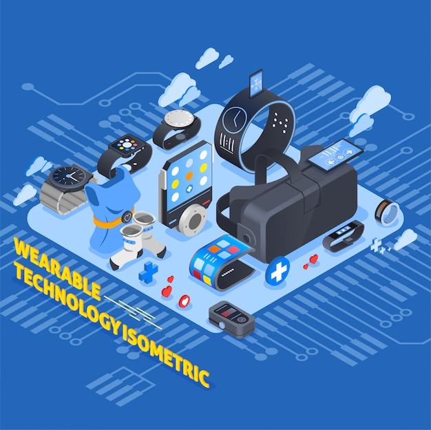 Design isometrico della tecnologia indossabile