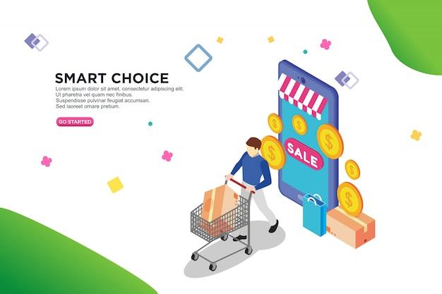 Design isometrico di vendita online