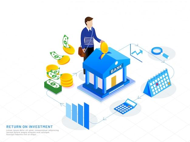 Design isometrico per ritorno sull'investimento.