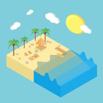 Design isometrico sulla spiaggia
