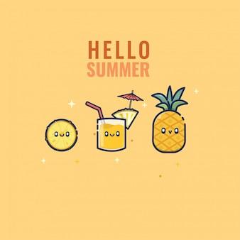 Design kawaii di ananas mascotte estate carattere modello di progettazione
