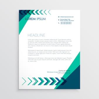 Design letterhead creativo con freccia in colore verde e blu