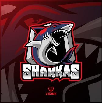 Design logo mascotte sport shark