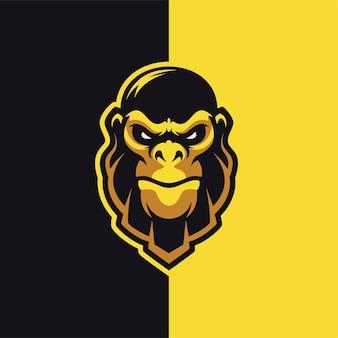 Design logo mascotte testa di gorilla