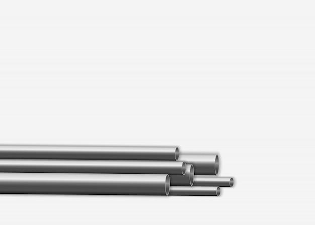 Design lucido del tubo in acciaio 3d. concetto di produzione industriale di condutture metalliche. tubi d'acciaio o di alluminio di vari diametri isolati su una priorità bassa bianca.