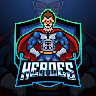 Design mascotte logo supereroe esport