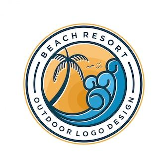 Design minimal con logo resort sulla spiaggia
