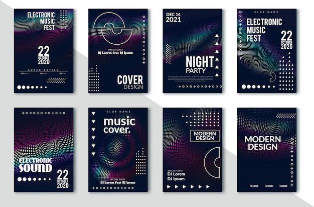 Design minimale delle copertine. sfumature di mezzetinte colorate. futuri motivi geometrici. eps10 vettoriale