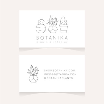 Design minimalista biglietto da visita con le piante