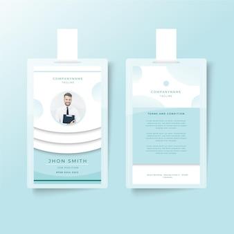 Design minimalista del modello di carte d'identità