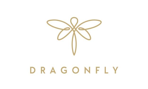 Design minimalista elegante del logo della libellula con lo stile di arte della linea