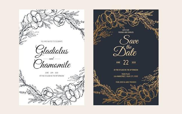 Design minimalista modello di invito carta di nozze. modello, cornice con delicati fiori, rami, piante.