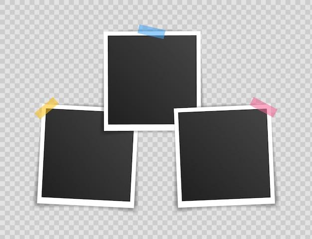 Design mockup cornice per foto. cornice per foto super set su nastro adesivo isolato su sfondo trasparente.