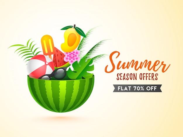 Design modello di banner di vendita con elementi estivi