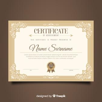 Design modello di certificato d'epoca