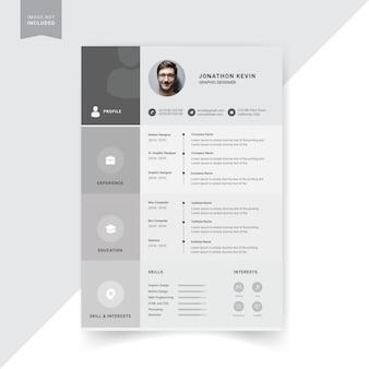 Design modello di curriculum creativo, colore grigio