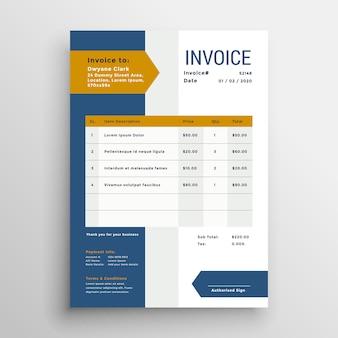 Design modello di fattura di business professionale