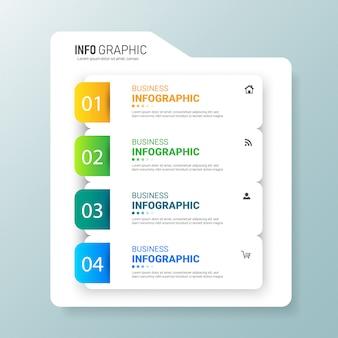 Design moderno a quattro opzioni infografiche.