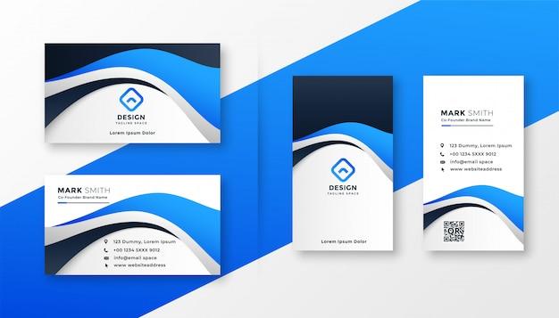 Design moderno biglietto da visita in stile onda blu