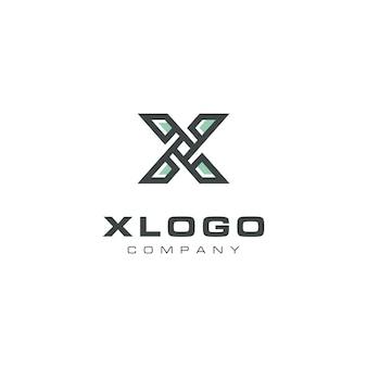 Design moderno del logo dell'elica della lettera x.
