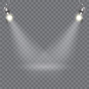 Design moderno del proiettore con due proiettori e raggi luminosi che attraversano