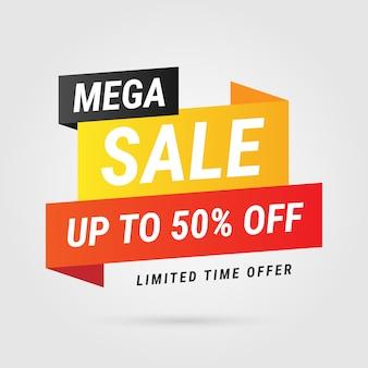 Design moderno di etichetta gialla mega vendita