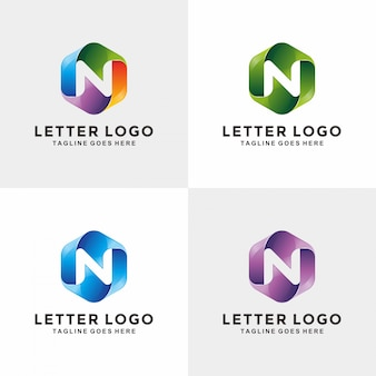 Design moderno logo 3d lettera n