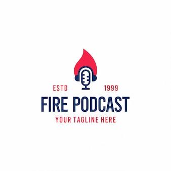 Design moderno logo podcast fuoco piatto