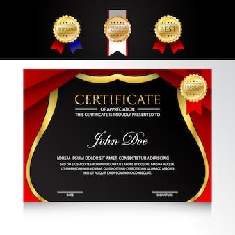 Design moderno modello certificato con opzioni di badge