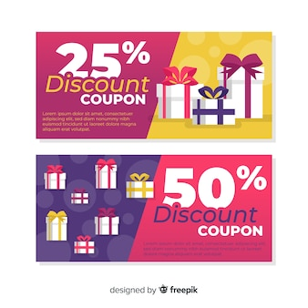 Design moderno modello coupon o voucher