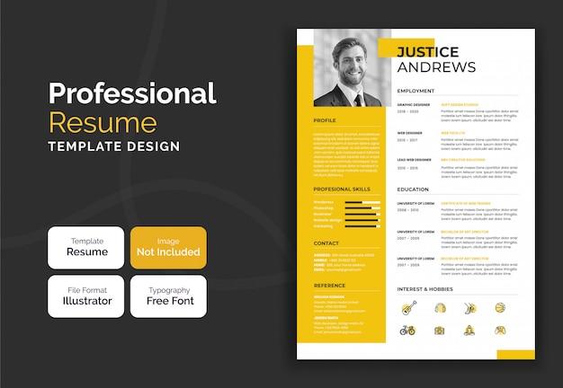 Design moderno modello curriculum curriculum giallo