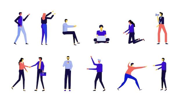 Design moderno personaggio piatto, movimento di persone isolato su sfondo bianco.