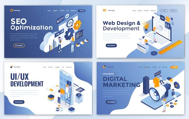 Design moderno piatto del modello di sito web