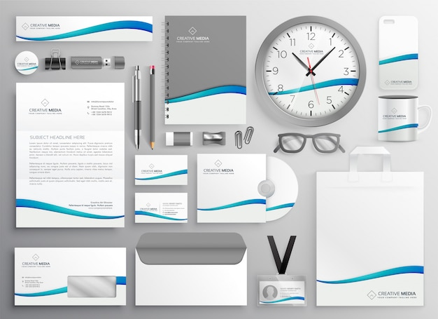 Design moderno set di cancelleria di affari pulito