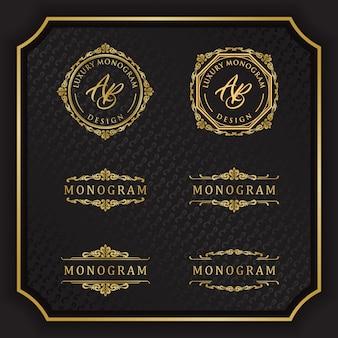 Design monogramma di lusso con elegante sfondo nero