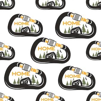 Design pattern da campeggio con moschettone, tenda, aquila e foresta. natura mia priorità bassa senza giunte di concetto di casa. stile afflitto cartone animato insolito. buono per tee, altre stampe.