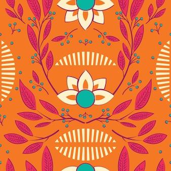 Design pattern senza soluzione di continuità con fiori disegnati a mano ed elementi floreali