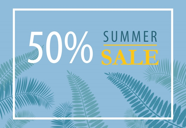 Design per banner di vendita estivi al cinquanta per cento. siluette di foglia tropicale su sfondo blu.