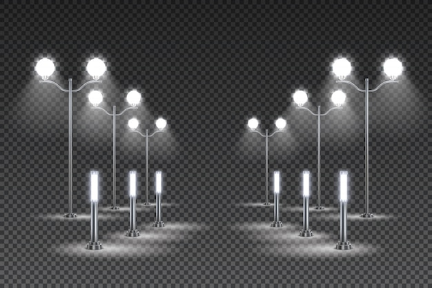 Design per l'illuminazione del giardino esterno con alte lanterne e lampioni a led solari