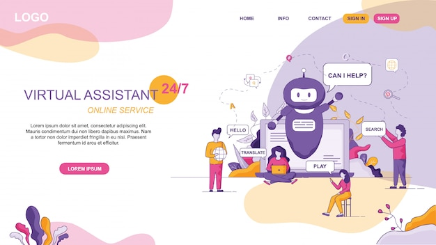 Design per virtual assistant sito web online