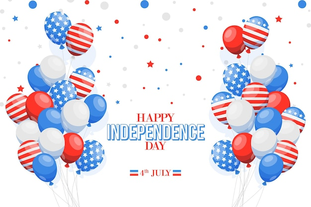 Design piatto 4 luglio bandiera nazionale su sfondo di palloncini