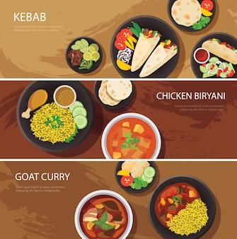 Design piatto banner web cibo halal, kebab, pollo biryani, curry di capra