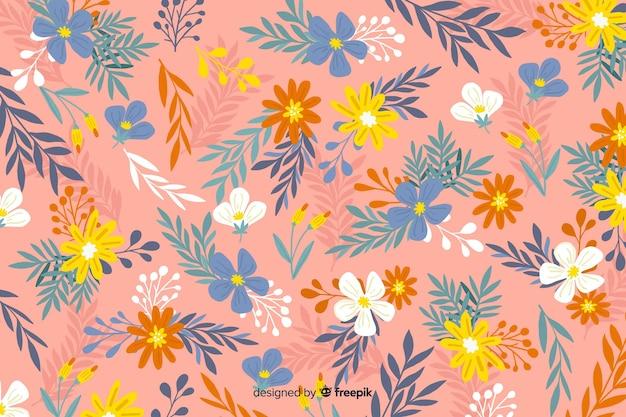 Design piatto bellissimo sfondo floreale