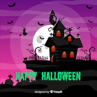 Design piatto casa di halloween