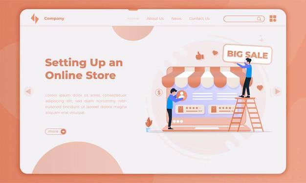 Design piatto che istituisce una promozione del negozio online sulla landing page