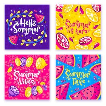 Design piatto collezione di carte estive