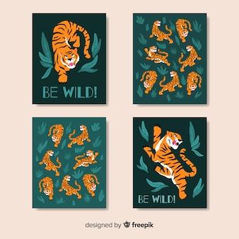 Design piatto collezione di carte tigre selvaggia