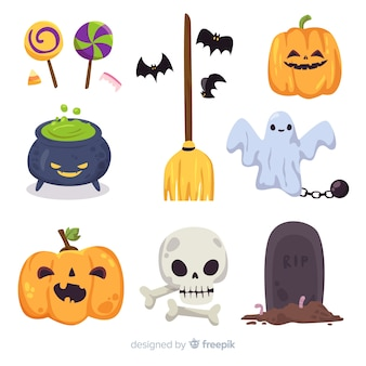 Design piatto collezione di elementi di halloween