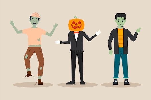 Design piatto collezione di personaggi di halloween